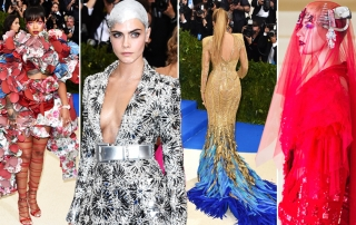 da sinistra a destra: Riahnna in Comme des Garçons, Cara Delevingne in Chanel, Blake Lively in Versace, Katy Perry in Maison Margiela.
