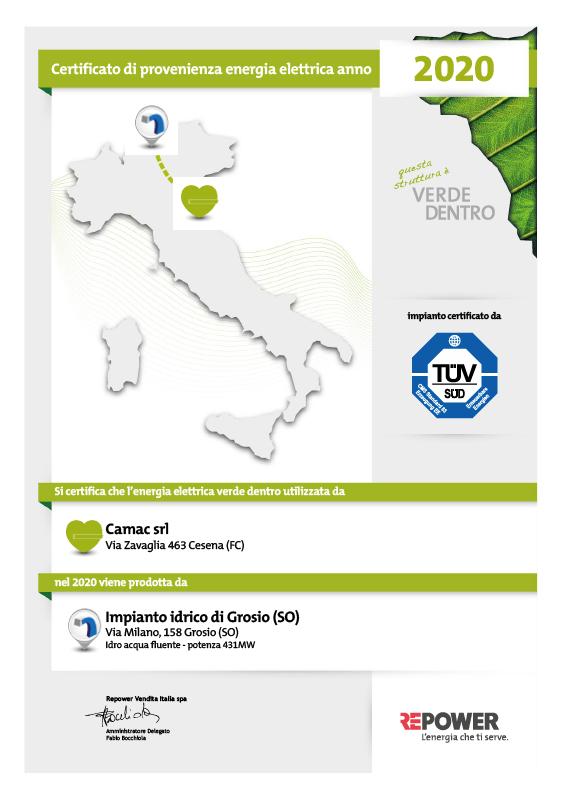 Certificato di provenienza Energia Verde utilizzata da CAMAC